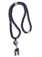 Buddhistische Mala Gebetskette Halskette Ebenholz, Türkis Perlen Koi Fisch Kette