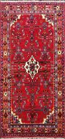 Geometric Red Traditional Hamedan Hand-Knotted Area Rug Wool Carpet 4x7 ft