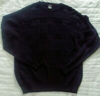 Giorgiolini Patchwork Sweater Mens M Wool Viscose Italy Made Navy Blue Size XL