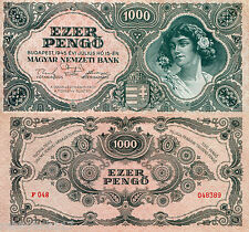 """HUNGARY 1000 Pengo Banknote World Paper Money Currency p118a 1945 """"XF"""" BILL Note"""