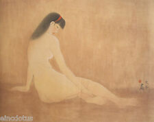 Original Gongbi Style Chinese Painting on Paper: Nude Young Girl 40x50cm