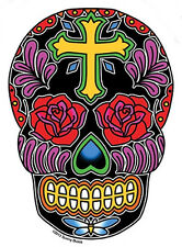 ROSE CROSS Latin SUGAR SKULL SEXY GUITAR STICKER/Vinyl DECAL Art By Sunny Buick