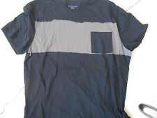 Men's T'shirt XL  STRUCTURE  Black with True Taupe Color Block Horizontal Stripe