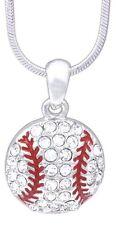 "Baseball Necklace, Rhodium Plated 18"" Chain w/ Swarovski Crystal Elements"