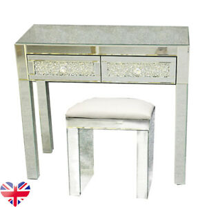 Clear Mirrored 2 Drawers Dressing Table Bedroom Crystal Make up Desk with stool