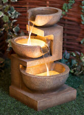 Kendal 3-Tier Cream Cascade Water Feature with LED Lights Patio Garden Fountain