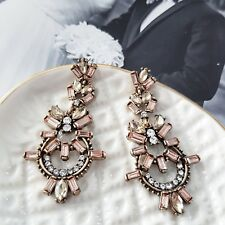 Vintage style gold peach & champagne crystal stone statement chandelier earrings