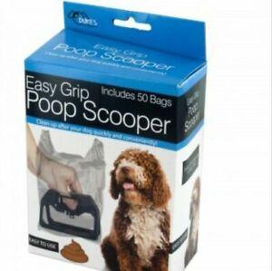 Poop Scooper Handle Clean up Convenient Easy Grip plus 50 bags Quick Disposal