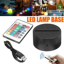 ABS Acrylic Black 3D LED Lamp Night Light Base + USB Cable + Remote Control U