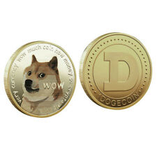 Dogecoin Münze Gold Medaille Kryptowährung Kryptomünze Sammler Fanartikel