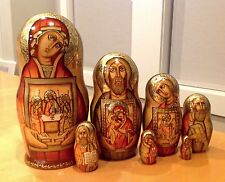 "RUSSIAN RELIGIOUS  NESTING DOLL ""HOLY FACES"" 7 PCS SIGNED 9"" H"