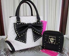 Betsey Johnson Hopefully Romantic Studded Bow Bucket Shoulder Bag Wallet Set NWT