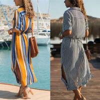 Women Summer Stripe Boho Party Evening Beach Dresses Long Maxi Dress Sundress