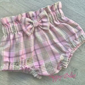 Handmade high waisted bow pink tartan bloomers baby/girls  various sizes