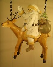 """""""Santa On Reindeer"""" Replacement Sign - 3-D Resin Sign for Country Arrow Holders"""