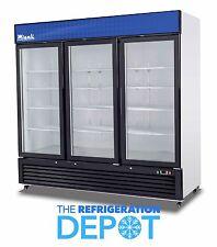 Migali C-72RM Three-Door Hinged Glass Refrigerator 72 CU. FT- FREE SHIPPING