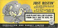 Vintage Ink Blotter Huddleston Barney Vacation Shutdown Woodstock ON Canada