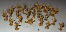 "BRONZE METAL FIGURE LOT SET SOLDIERS HORSES CANNON VINTAGE TINY 3/4"" COLLECTORS"