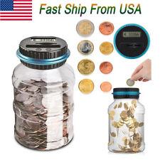 18l Digital Lcd Money Saving Box Bank Large Coin Counting Jar Change Counter Us