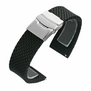 Black 18/20/22/24mm Rubber Band Silicone Strap Waterproof Diving Bracelet