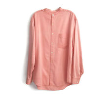 TravelSmith Men's Medium Shirt Silk Blend Long Sleeved Banded Collar Travel