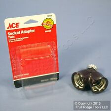 Ace Brown Twin Light Bulb Socket Lampholder Y-Adapter Converter 660W 250V 33778