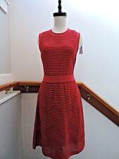 NWT $795 M MISSONI RIB KNIT A LINE FIT & FLARE DRESS RASPBERRY RED IT 42 US S 6