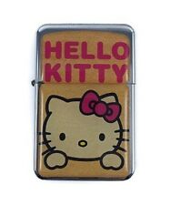 Lighter Hello Kitty Silver Refillable Windproof Flip Top Oil Petrol Smoke Kitten