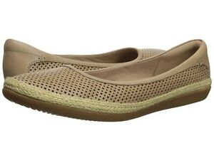 Clarks Collection Danelly Adira Leather Espadrille Ballet Flat Size 10W Sand