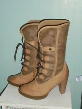 Grasp Womens Brown Lace Fleece Lined Calf Boots Heels - Size UK 6 (40)