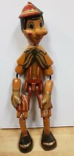 VINTAGE CARVED WOODEN PINOCCHIO PUPPET PAINTED CREEPY CLOWN ANTIQUE 50cms TALL