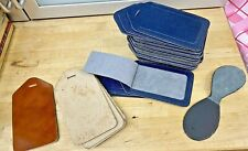 Leather Labels-Hide Material-Lot 47x-13x6.5cm-Pre Cut-Crafts-Punching-Blue-Brown