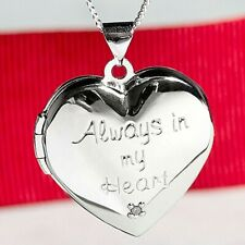925 Sterling Silver 'Always in my Heart' Diamond Locket Necklace Love Gift + Box