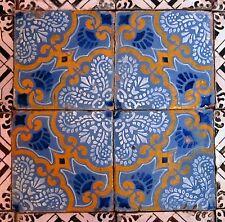 quattro riggiole piastrelle mattonelle maioliche antiche in cotto 20x20