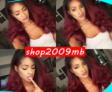 Ombre Burgundy Lace front Wigs Pre Plucked Brazilian Human Hair Wig Body Wave