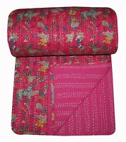 Indian Queen Paradise Floral Kantha Pink Kantha Quilt Hand Quilted Blanket Throw