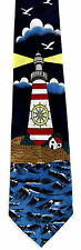 Lighthouse Shining Mens Neck Tie Lighthouse Neck Tie Ocean Sea Blue Nautical New