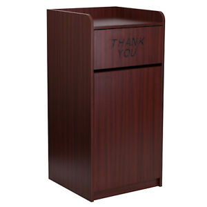 Commercial Trash Can Restaurant Large Garbage Waste Bin Tray Receptacle Mahogany