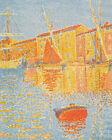 Saint-tropez The Harbour Seascape Yachts Paul Signac Print Canvas Yellow Decor S
