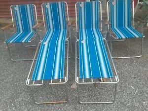 4 Vintage Zip Dee Blue Folding RV Camp Airstream 2 Chairs w/ Leg Extensions