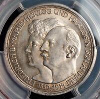 "1914, Anhalt-Dessau. Silver 3 Mark ""25th Wedding Anniversary"" Coin. PCGS MS-62!"