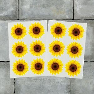 12 x Sunflowers Stickers Decals Yellow Colour Wall Self Adhesive Vinyl - 50mm