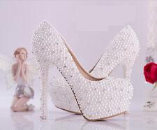 bride wedding shoes womens white pearl rhinestone round toe platform high heel