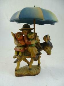 """Vintage Hand Carved Wood Anri Figurine Family Riding Donkey Umbrella 5"""" Tall Old"""