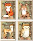 Nursery Art, Woodland Nursery Art, 4 prints, 8x10?, Fox, Rabbit, Deer, Owl Art