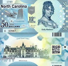 USA 50 Dollars North Carolina State #12 Fun-Fantasy Note Banknote Dolly Madison