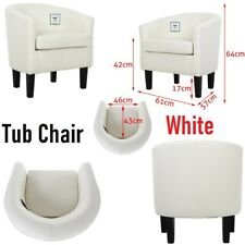 Modern Tub Chair Faux Leather Armchair Occasional Accent Chair Sofa Seat Chairs