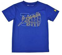 Under Armour Boys S/S Blue & Yellow Dry Fit Top Size 5