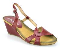 Ladies Womens Mid Wedge Heel Peep Toe Slingback Summer Mules Sandals Shoes Size