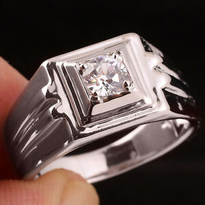 Men 925 Solid Sterling Silver Ring Size 11 5.0mm Clear Cubic Zirconia Crystal